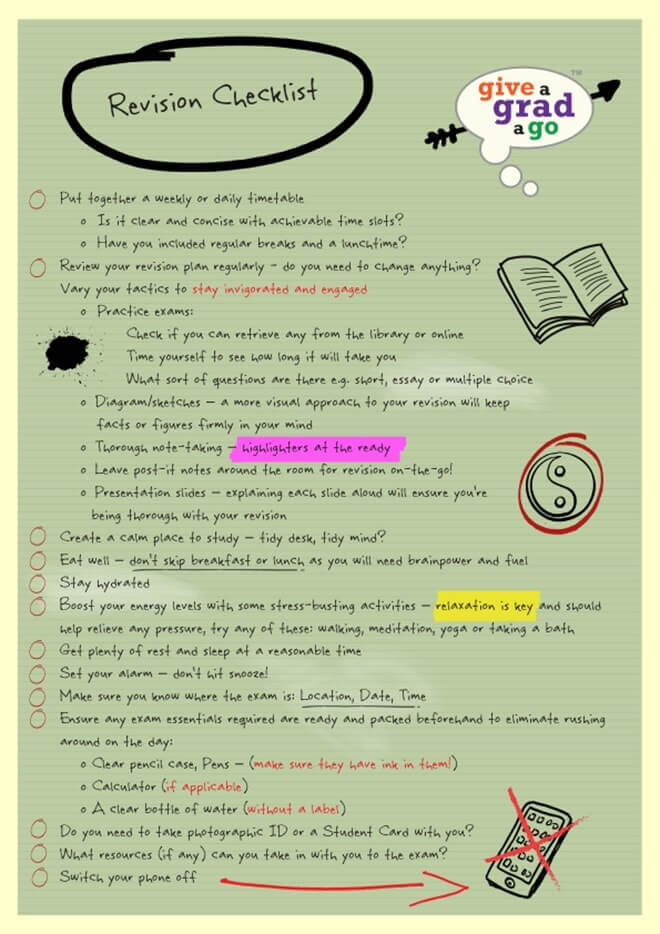give a grad a go revision checklist