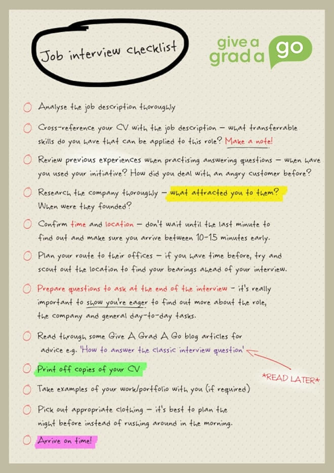 graduate job interview checklist