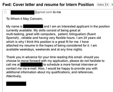 The employ me because im 24 cover letter