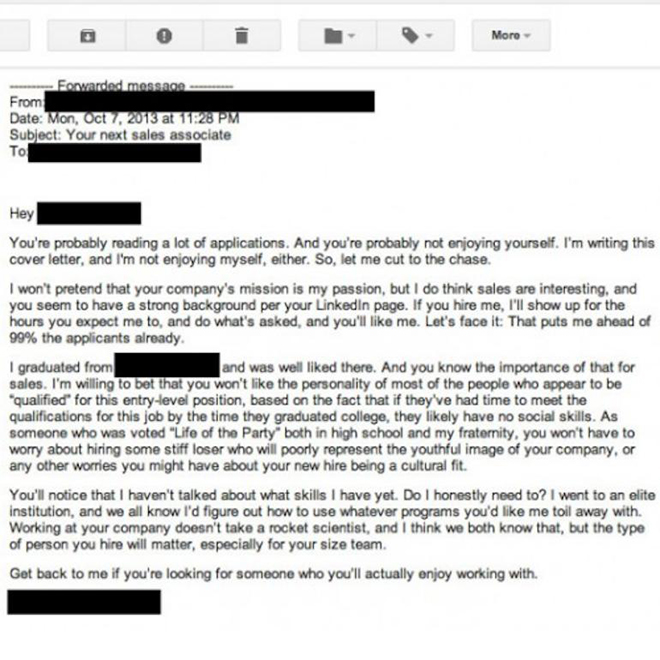 the brutally honest cover letter