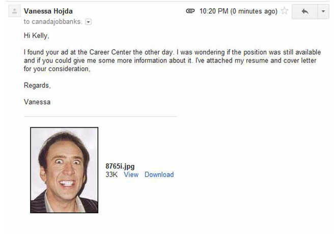The unfortunate addition of nicolas  cage cover letter
